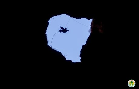 William Hardie Descending into Arch Cave Oman